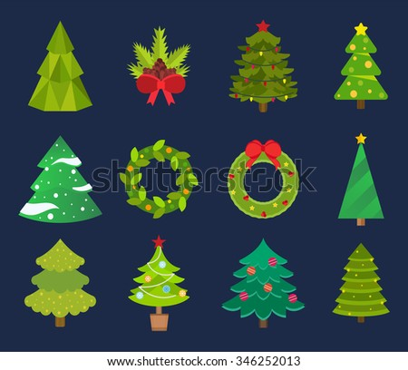 Christmas tree icons set. Christmas tree vector. New Year tree isolated. Christmas tree vector illustration. New Year tree silhouette. Christmas decoration, balls, tree, green tree. Set of Christmas - stock vector