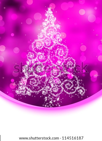 Christmas tree illustration on purple bokeh background. EPS 8 vector file included - stock vector