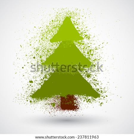 Christmas tree in grunge style - stock vector