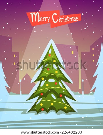 Christmas tree in the park with city in background, season cartoon illustration. - stock vector