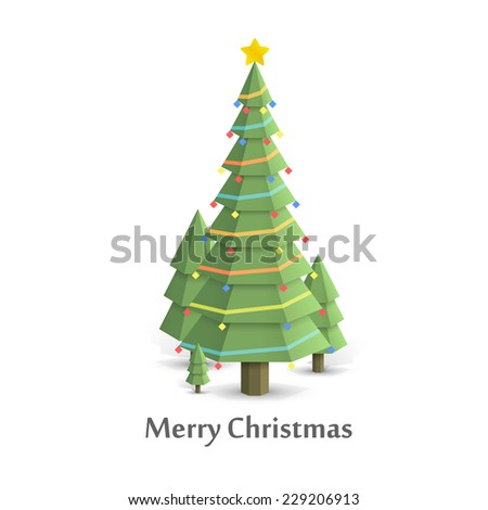 Christmas tree in the woods flat style. Vector illustration - stock vector