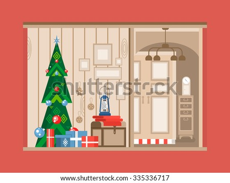 Christmas tree interior. Holiday and gift, celebration xmas,  new year traditional flat vector illustration - stock vector