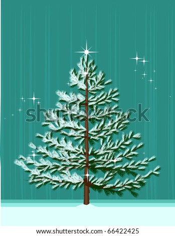 Christmas Tree/Isolated Christmas Tree on abstract winter background. - stock vector