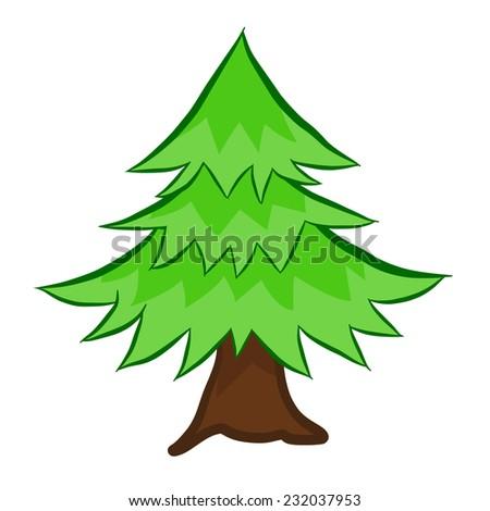 Christmas tree isolated illustration on white background - stock vector