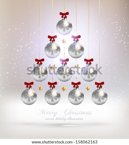 Christmas Tree Made of Baubles, vector - stock vector