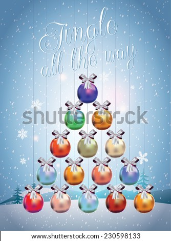 Christmas tree made of Christmas balls. Christmas card. Merry X-mas and Happy New Year. Jingle all the way. - stock vector