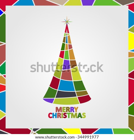 Christmas tree made of mosaic with a star and the text Merry Christmas.  - stock vector