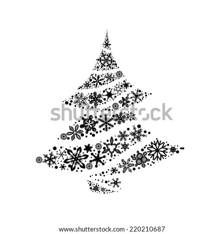 Christmas tree made of snowflakes. Vector  - stock vector