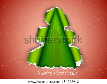 Christmas tree made of torn paper - stock vector