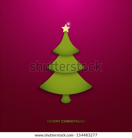 Christmas tree. Merry Christmas greeting card design. Vector illustration - stock vector