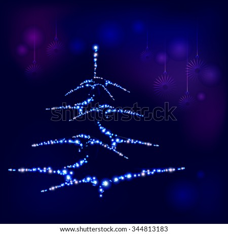 Christmas tree on a background of snowflakes. EPS10 vector illustration. - stock vector