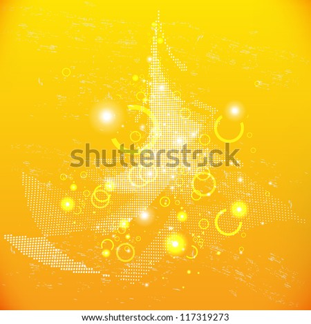 Christmas tree on a bright gold background with highlights - stock vector