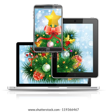 Christmas Tree on Laptop Screen Tablet PC and Smartphone over Bright Background, isolated on white, vector illustration - stock vector