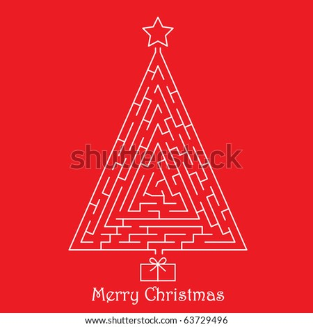 Christmas tree on red background - stock vector