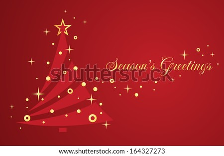 Christmas tree on red background. Greeting card. Vector illustration EPS 10 for Christmas design. - stock vector
