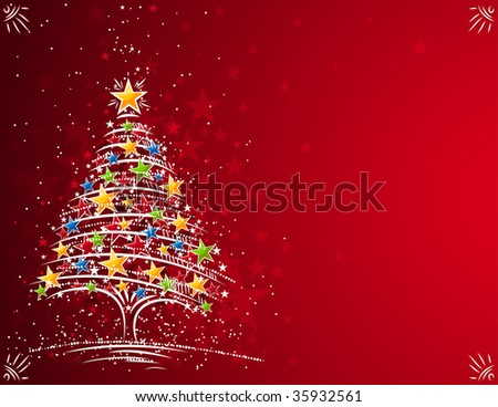 christmas tree  on the red background, vector illustration - stock vector