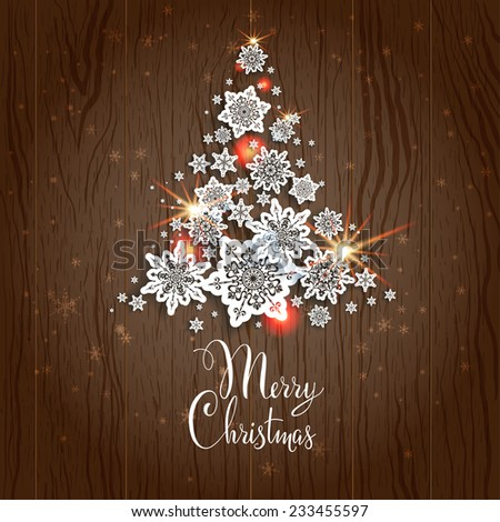 Christmas tree on wood background. Holiday decoration. - stock vector