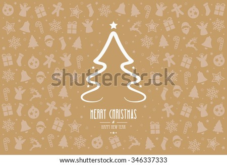 christmas tree pattern decoration elements gold background - stock vector