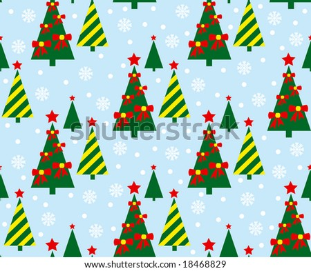 Christmas tree seamless pattern - stock vector