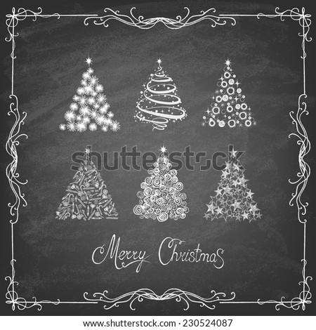 Christmas Tree Set  Background, Trendy Design Template on blackboard. Vector illustration. - stock vector