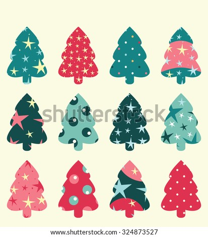 Christmas tree set, can be used as a card design or background - stock vector