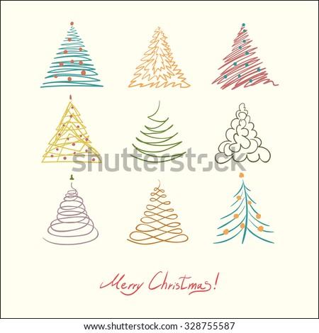 Christmas tree set. Vector simple illustration. Retro color. - stock vector