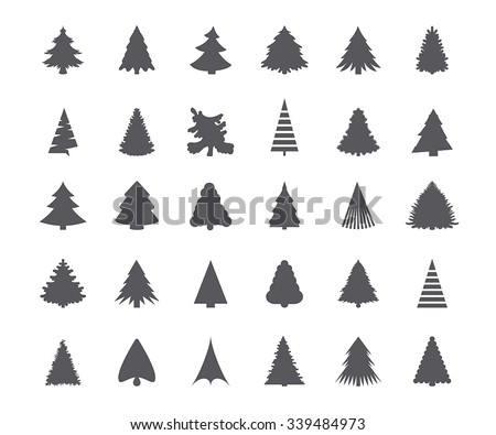 Christmas tree silhouettes - stock vector