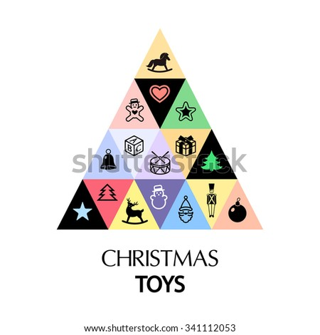 christmas tree toys set - stock vector