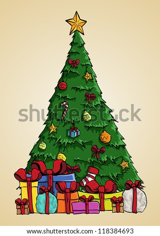Christmas tree vector art with present boxes - stock vector