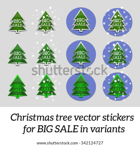 Christmas tree vector stickers for big sale in variants.  - stock vector