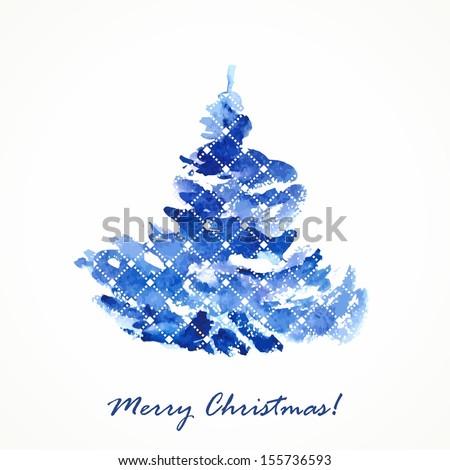 Christmas tree. Watercolor illustration. Christmas festive card. - stock vector