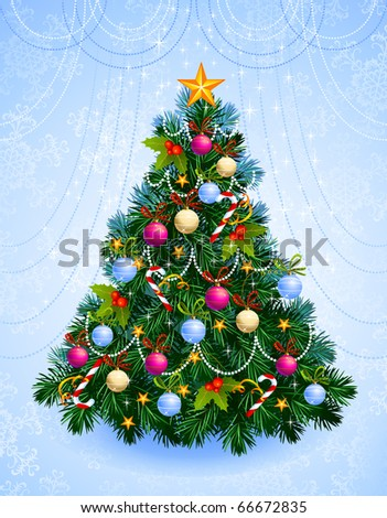 Christmas tree with balls, stars, candies - stock vector