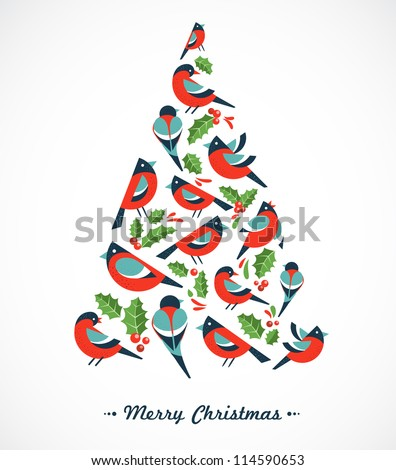 Christmas tree with birds and holly leafs - stock vector