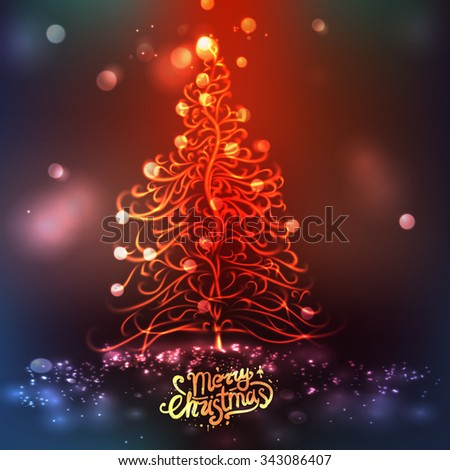 Christmas tree with bokeh background - stock vector