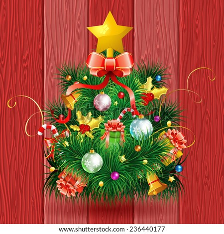 Christmas Tree with Candy, Fir Branches, Mistletoe and Gift on Red Wooden Boards background, vector illustration. - stock vector