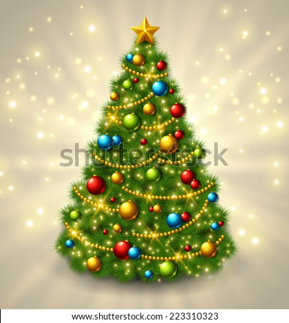 Christmas tree with colorful baubles and gold star on the top. Vector illustration. Glowing festive background with light beams and sparks. - stock vector