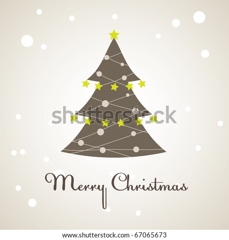 Christmas tree with colourful decoration. Vector illustration - stock vector