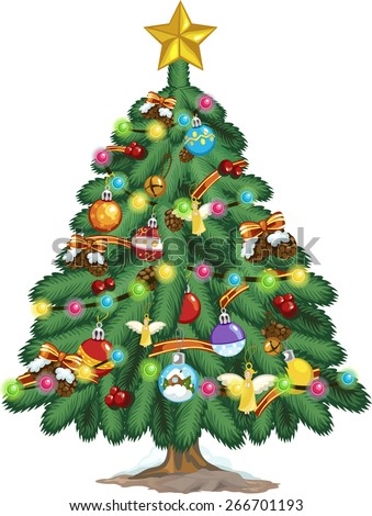 Christmas tree with decorations and gifts - stock vector
