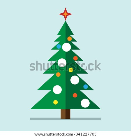 Christmas tree with decorations, star and snow on light bluish background. Flat style. EPS 10 vector illustration, no transparency - stock vector
