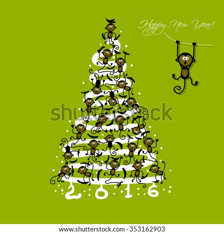 Christmas tree with funny monkeys for your design. Vector illustration - stock vector