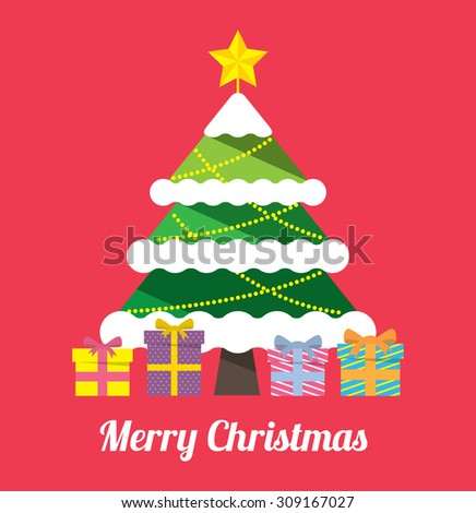 Christmas tree with gift box - stock vector