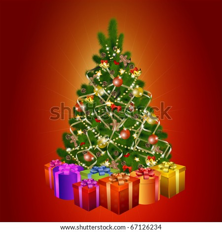 Christmas tree with gift boxes on red background. Vector eps10 illustration - stock vector