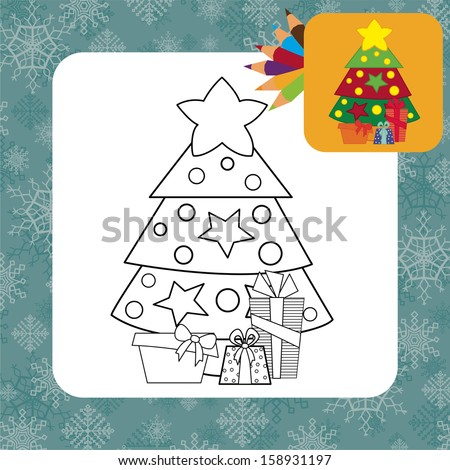 Christmas tree with gifts. Coloring page. Vector illustration - stock vector