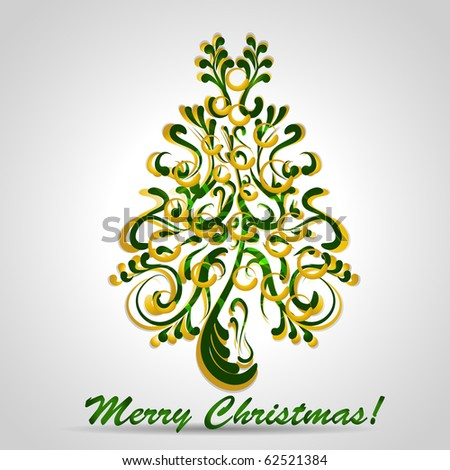 Christmas tree with gold and green elements - stock vector