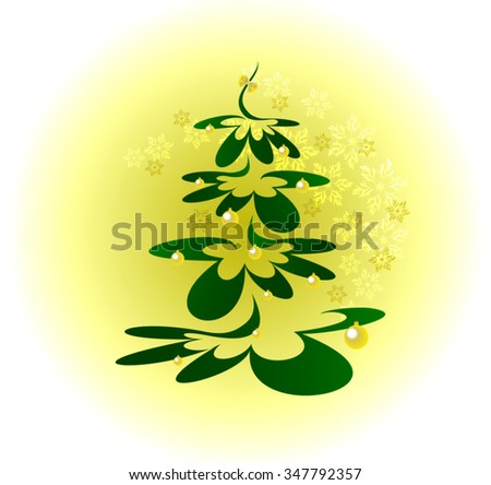 Christmas tree with gold balls on background with snowflakes. EPS10 vector illustration. - stock vector