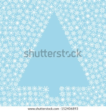 Christmas tree with hand-drawn snowflake - stock vector