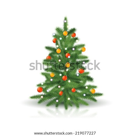 Christmas tree with ornaments and garland with reflection on white background - stock vector