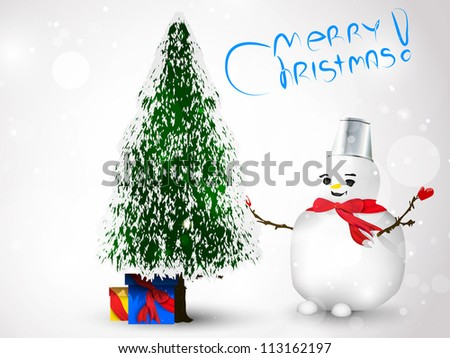 Christmas tree with presents and snowman - stock vector