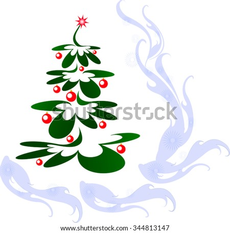 Christmas tree with red balls and star. EPS10 vector illustration. - stock vector