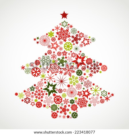 Christmas tree with snowflakes - stock vector